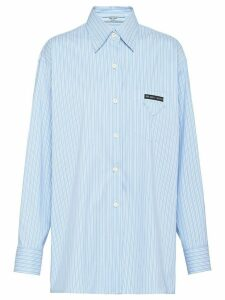 Prada long-line pinstriped shirt - Blue