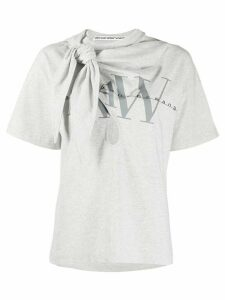 Alexander Wang tie neck logo T-shirt - Grey