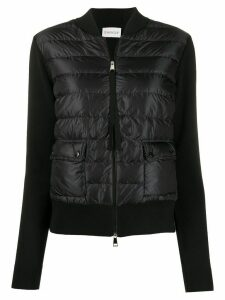 Moncler quilted-effect zipped cardigan - Black