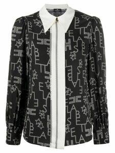 Elisabetta Franchi lettering logo shirt - Black
