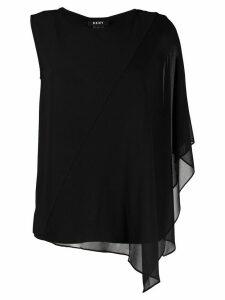 DKNY asymmetric overlay top - Black
