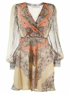 Etro lace print flared dress - Yellow