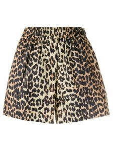 GANNI high-waisted leopard print shorts - Brown