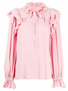 MSGM ruffle-trimmed jacquard blouse - PINK