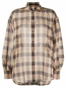 Rokh check-print oversized shirt - NEUTRALS