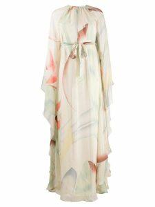 Etro foliage-print silk dress - NEUTRALS