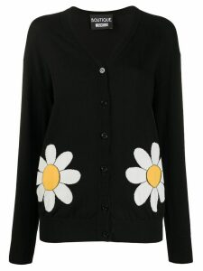 Boutique Moschino knitted flower cardigan - Black