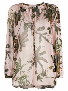 Dorothee Schumacher floral-print lace-up blouse - PINK