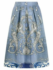 Etro pleated paisley print skirt - Blue