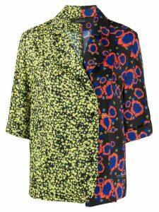 Rokh floral-print contrast shirt - Black