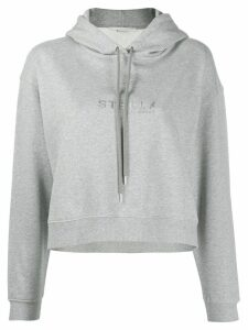 Stella McCartney logo plaque cropped hoodie - Grey