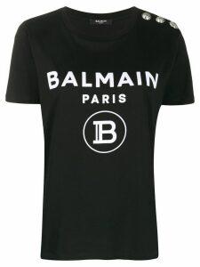 Balmain logo button T-shirt - Black