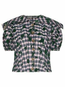 Chopova Lowena Flounce flocked check blouse - Multicolour