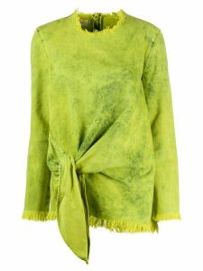 Marques'Almeida acid wash tie front top - Green