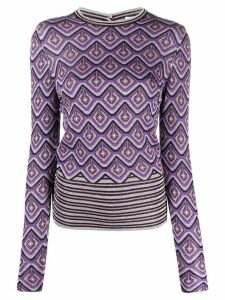 Paco Rabanne metallic geometric-intarsia jumper - PURPLE