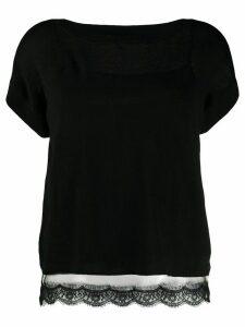 Twin-Set lace hem short-sleeve top - Black