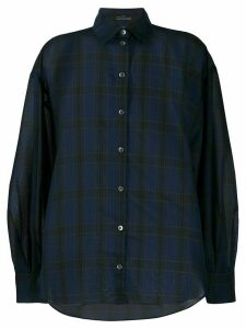 Rokh check-print oversized shirt - Blue
