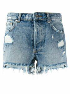 LIU JO distressed ripped detail shorts - Blue