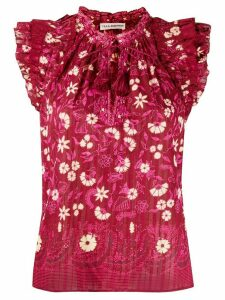 Ulla Johnson floral print tassel blouse - Red