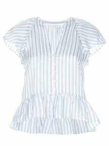 Veronica Beard striped-print ruffled blouse - Blue