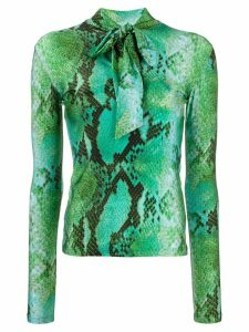 MSGM snakeskin print pussy bow top - Green