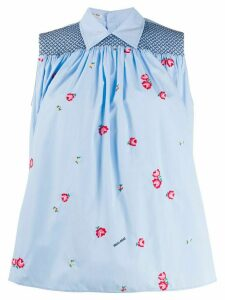 Miu Miu floral embroidered boxy blouse - Blue