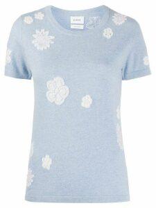 Barrie flower pattern round neck top - Blue