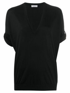 Brunello Cucinelli short-sleeved knitted top - Black
