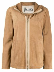 Herno hooded leather jacket - Brown