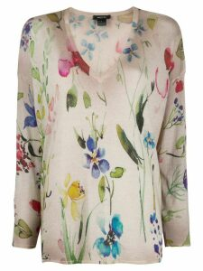 Avant Toi floral watercolour print jumper - NEUTRALS