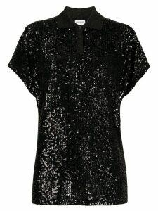 Saint Laurent sequin embroidered polo shirt - Black