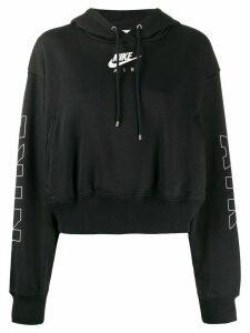 Nike cropped logo print hoodie - Black