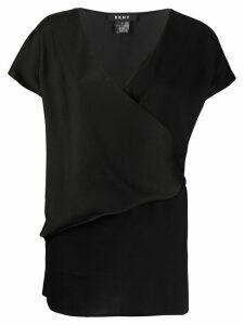 DKNY V-neck wrap T-shirt - Black
