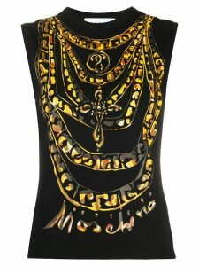 Moschino print sleeveless T-shirt - Black