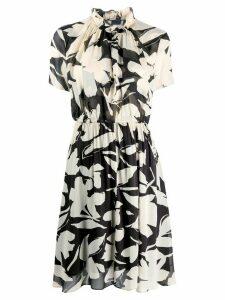 Calvin Klein ruffled collar floral print dress - Black