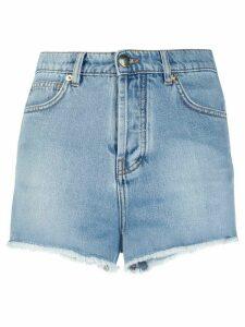 Alexandre Vauthier frayed hem denim shorts - Blue