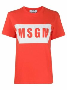 MSGM graphic logo-print T-shirt - ORANGE