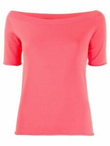 Roberto Collina short sleeve boat neck top - Red
