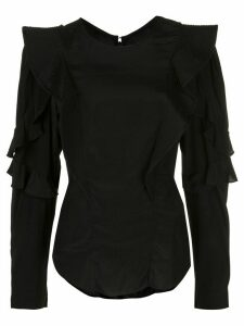 Isabel Marant Étoile ruffled sleeves fitted blouse - Black