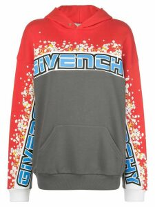 Givenchy floral print colour-block hoodie - Grey