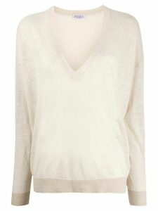 Brunello Cucinelli loose-fit v-neck jumper - NEUTRALS