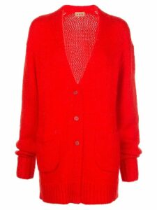 Lhd button down V-neck cardigan - Red