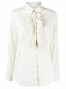 Barena long sleeve ruffled bib blouse - White