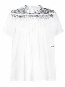 Prada contrast stitching T-shirt - White