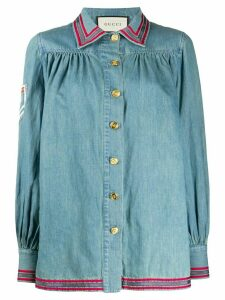 Gucci piped trim chambray shirt - Blue