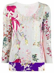 Etro floral print round neck jumper - NEUTRALS