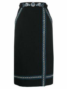 Vilshenko embroidered wrap-front skirt - Black