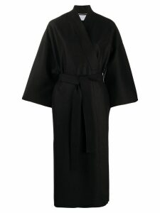 Harris Wharf London belted wrap-front coat - Black