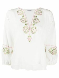 Vilshenko floral-embroidered silk blouse - White