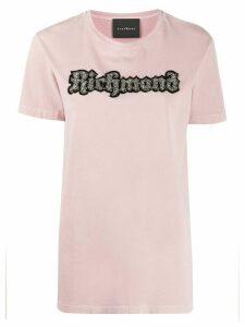 John Richmond logo patch crew-neck T-shirt - PINK